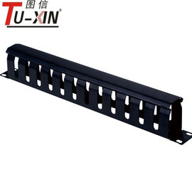 China Black 19 Inch Rack Accessories 1U / 12 Port Rack Mount Metal Cable Management supplier