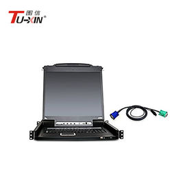 1u Capacity 17inch LCD KVM Drawer Rack Console AC100 - 240V 1280 X 1024 Resolution