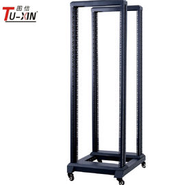 China 19 Inch 4 Post Open Frame Server Rack Four Poles With Castors Black Color factory